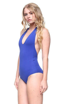 Halter Top Open Back Bodysuit in Royal Blue