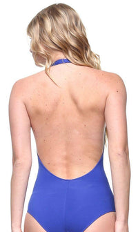 Halter Top Open Back Bodysuit in Royal Blue - SohoGirl.com