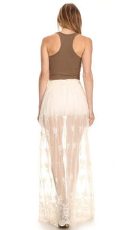 Floral Embroidered Sheer Maxi Skirt in Ivory - SohoGirl.com