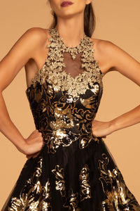 Elizabeth K GL2655 Illusion Sweetheart Open Back Dress in Black-Gold - SohoGirl.com