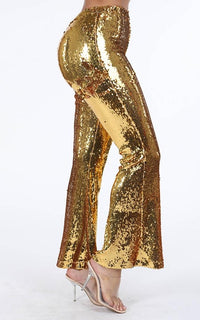 Sequin Flare Bell Bottom Pants - Gold