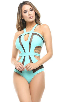 Black Widow Sheer Illusion Cut Out One Piece Swimsuit in Tiffany - SohoGirl.com