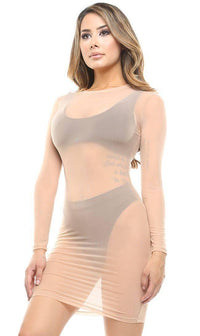 Nude Long Sleeve Mesh Cover Up - SohoGirl.com