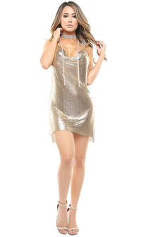 Rhinestone Chainmail Choker Mini Dress - Gold