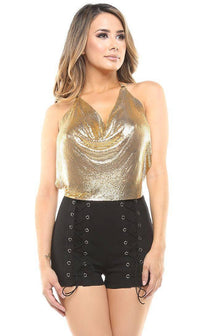 Gold Sequin Draped Top