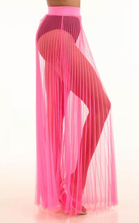 Pleated High Waisted Sheer Maxi Skirt - Neon Pink