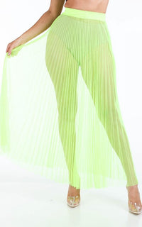 Pleated High Waisted Sheer Maxi Skirt - Neon Yellow - SohoGirl.com