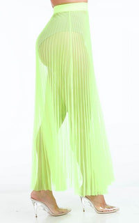 Pleated High Waisted Sheer Maxi Skirt - Neon Yellow