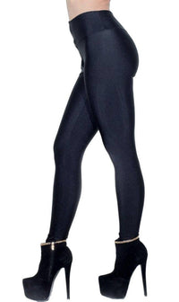 High Waisted Nylon Zip Up Leggings in Black (Plus Sizes Available) - SohoGirl.com