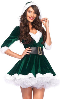 Mrs.Claus Holiday Velvet Dress in Green