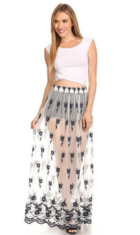 Floral Embroidered Sheer Maxi Skirt in Navy Blue - SohoGirl.com