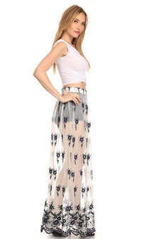 Floral Embroidered Sheer Maxi Skirt in Navy Blue