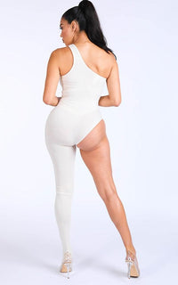One Leg Jumpsuit in Nude - SohoGirl.com