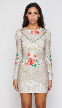 Floral Print Rhinestones and Studs Dress - Beige - SohoGirl.com