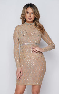 Crystal Embellished Sheer Mesh Dress - Nude