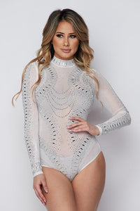 High Neck Rhinestone Mesh Bodysuit - White - SohoGirl.com