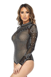 Rhinestone Long Sleeve Embellished Bodysuit - Black