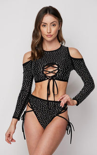 Rhinestone Lace Up Two Piece Bikini Set - Black