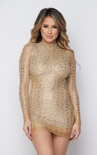 Sparkling Rhinestone Long Sleeve Dress - Nude