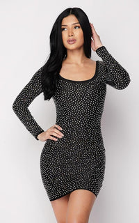 Rhinestone Scoop Neck Long Sleeve Dress - Black