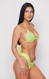 Rhinestone Triangle Bikini Two Piece Set - Neon Yellow - SohoGirl.com