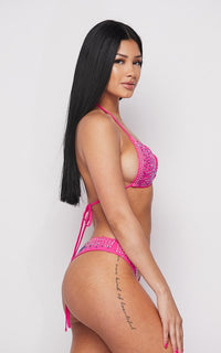 Rhinestone Triangle Bikini Two Piece Set - Neon Pink