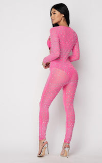Studded Rhinestone Two Piece Jumpsuit Set - Pink - SohoGirl.com