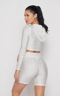 Rhinestone Cropped Hoodie and Biker Shorts - White - SohoGirl.com