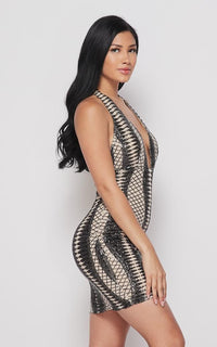 Diamond Pattern Sequin Halter Dress - Black