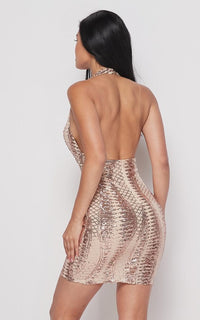 Diamond Pattern Sequin Halter Dress - Rose Gold