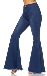 Wide Leg High Waisted Bell Bottom Jeans - Dark Denim - SohoGirl.com