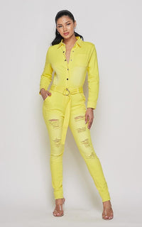 Distressed Denim Washed Belted Jumpsuit - Yellow