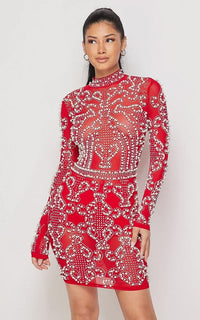 Damask Beaded Pearl Rhinestone Dress in Red