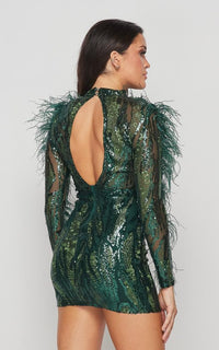 Feathered Sleeve Sequin Dress - Hunter Green