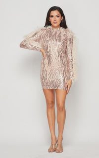 Feathered Sleeve Sequin Dress - Rose Gold