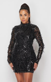 Black Sword Shaped Sequin Mini Dress