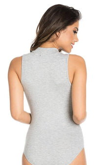 Gray Sleeveless Ribbed Mock Neck Bodysuit - SohoGirl.com