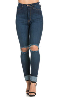 Dark Blue Ripped Knee Super High Waisted Skinny Jeans (Plus Sizes Available) - SohoGirl.com