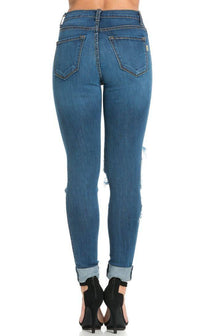 Dark Denim Super Distressed High Waisted Skinny Jeans (Plus Sizes Available)
