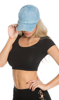 Stitched Denim Baseball Cap in Light Blue - SohoGirl.com