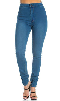 Super High Waisted Stretchy Skinny Jeans in Denim Blue (Plus Sizes Available)