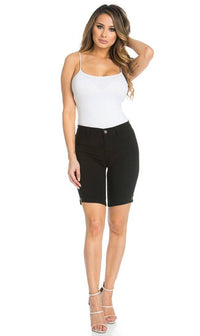Super High Waisted Stretchy Bermuda Shorts in Black - SohoGirl.com