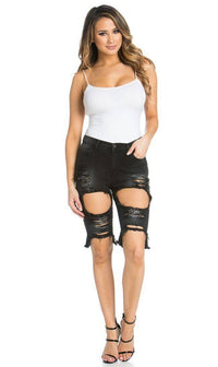 High Waisted Shredded Cut Off Bermuda Shorts in Black - SohoGirl.com