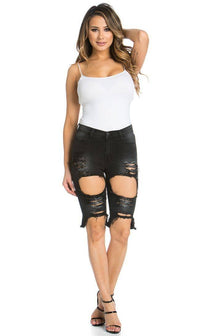 High Waisted Shredded Cut Off Bermuda Shorts in Black