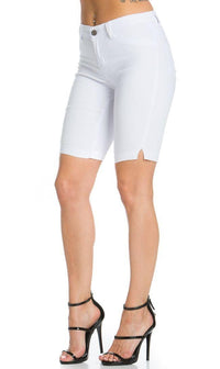 Super High Waisted Stretchy Bermuda Shorts in White
