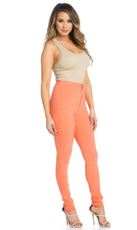 Super High Waisted Stretchy Skinny Jeans - Coral - SohoGirl.com