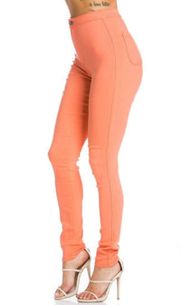Super High Waisted Stretchy Skinny Jeans in Coral