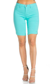 Super High Waisted Stretchy Bermuda Shorts in Aqua - SohoGirl.com