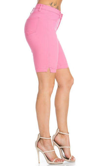 Super High Waisted Stretchy Bermuda Shorts in Bubblegum Pink - SohoGirl.com