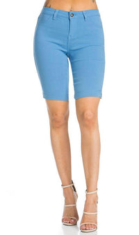 Super High Waisted Stretchy Bermuda Shorts in Baby Blue - SohoGirl.com